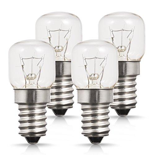 4X 25W E14 Lampadina Da Forno, Small Edison Screw Base Forno lampadine,Lampadineluce al Tungsteno, 2700K Luce Bianca Calda, Non dimmerabile, Per Luce Notturna o Per Forno/Forno a Microonde