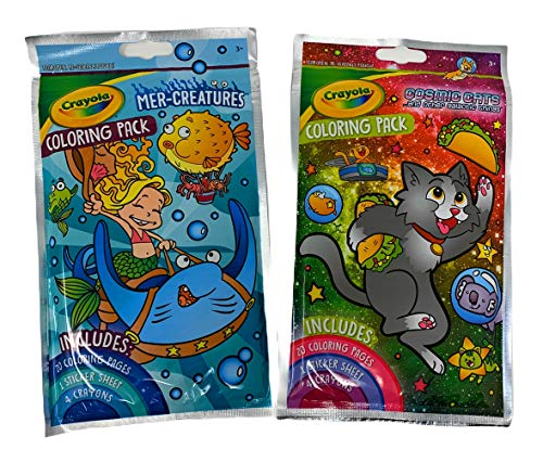 Crayola Coloring Packs - Two Pack Bundle- Creatures, Mermaid, Cosmic Cats- 20 page coloring book, a sticker sheet, 4 crayons- Art Craft Kit- Keep Little Ones Busy!