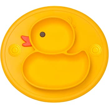 Dishwasher /& Microwave Safe Silicone Placemat 11x8x1 inch 3Puppy-Yellow Qshare Toddler Plate Portable Baby Plates for Toddlers and Kids BPA-Free FDA Approved Strong Suction Plates for Toddlers