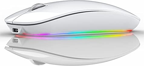 Uciefy RGB Bluetooth Mouse, Type C Charging Dual Mode Wireless Mouse Bluetooth 5.1 Optical 2.4G Rechargeable Silent Wirele...