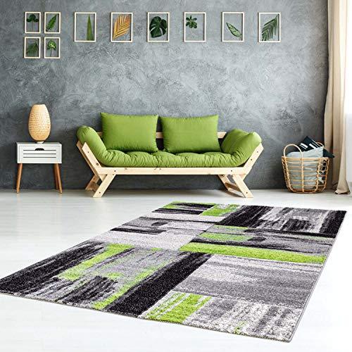 carpet city Teppich Modern Flachflor Konturenschnitt Handcarving Meliert, Streifen in Grün Grau für Wohnzimmer, Größe: 200x290 cm
