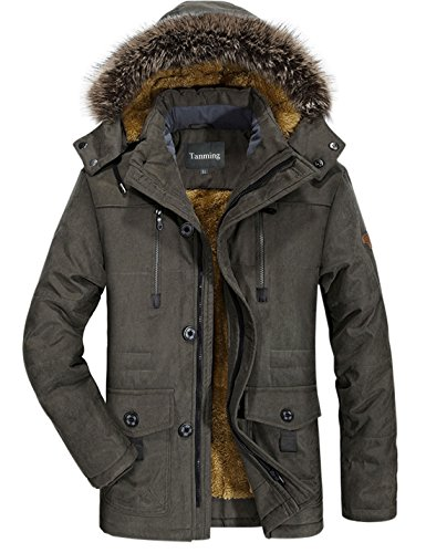 Tanming Men's Winter Warm Faux Fur Lined Coat with Detachable Hood (Medium, Army Green)