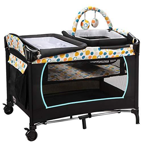 COSTWAY 4 en 1 Cuna de Viaje Plegable para Bebé Cambiador Corralito y Cesta para Bebé Cuna con Colchón Caja de Música Juguetes y Bolsa de Transporte