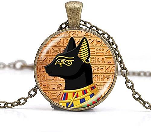 Collar con colgante de dioses de gato egipcio antiguo Egipto, joyería de arte de la foto de la joyería de cumpleaños del festival de regalo