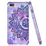 iPhone 7 Plus Case, iPhone 8 Plus Case, Emogins Phone Case for Apple, Soft Silicone Protective Cover with Purple Mandala Flower Design for Women Girls
