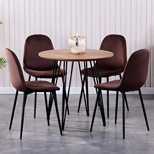 GOLDFAN Modern Dining Table and 4 Chair Set Round Wood Table and Soft Brown Velvet Chairs with Metal Legs Brown