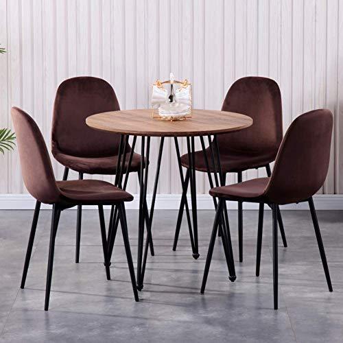 GOLDFAN Moderner Esstisch und 4 Stühle, runder Holztisch und weicher Stoffstuhl mit Metallbeinen, Braun und Braun, 4 Stück