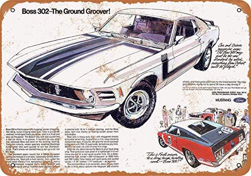 1970 Ford Mustang Boss 302 - Placa decorativa de metal con aspecto vintage (20,3 x 30,5 cm)