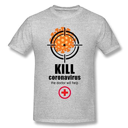 YDXH Nuevo Coronavirus del Patrón De La Camiseta COVID-19 Impreso De Análisis De La Manga Corta De La Camiseta,2,L
