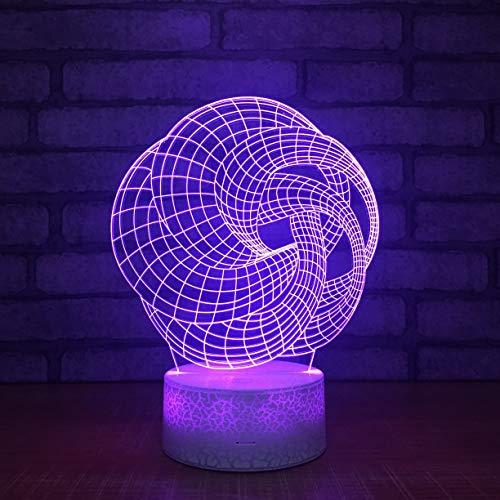 Arte abstracto Grabado Altavoz Gifr 3D LED Luz de noche USB Lámpara de mesa Niños Regalo de cumpleaños Decoración de la cabecera del hogar