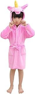 ユニコーンバスローブキッズローブビーチプールカバーフード付きパジャマの衣装 (Pink, 120(110-120cm))