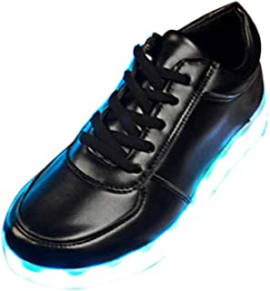 Start Boy's Led Shoes USB Charging Light Up Glow Shoes Fashion Sneakers US=8 Black