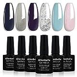 Allenbelle Smalto Semipermanente Nail Polish UV LED Gel Unghie (Kit di 6 pcs 7.3ML/pc) (33003)