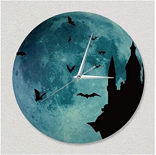 Reloj de Pared luminiscente de Halloween, 30 cm Vampiro Castillo Mágico Márico Creativo Material acrílico Material Impermeable Metal Puntero Dampero de Cuarzo Relojes para Interior