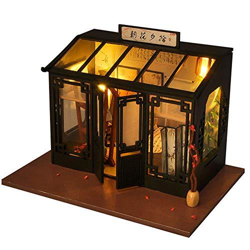 SXOH Doe-het-zelf modelbouw cabine van hout, handgemaakt, creatief, met licht, kalligrafisch schilderij in antieke stijl