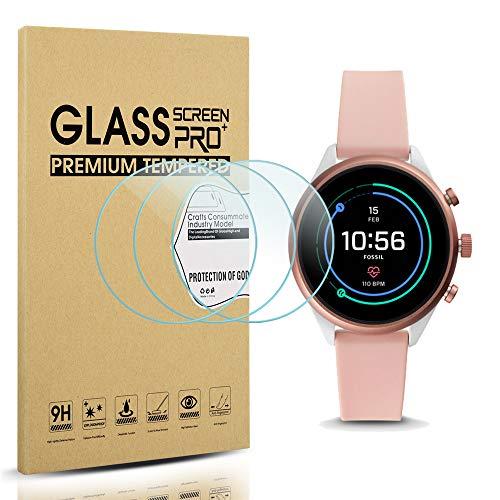 Diruite 3-Pack for Fossil Sport 41mm 2018 Gen 4 Screen Protector Tempered Glass for Fossil Sport 41mm Gen 4 Smartwatch [2.5D 9H Hardness] [Anti-Scratch] [Bubble-Free]