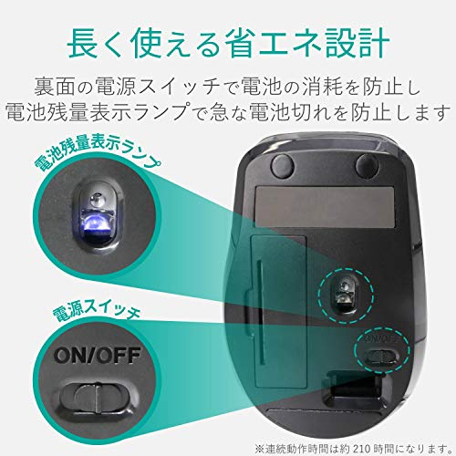 エレコムマウスワイヤレス(レシーバー付属)Mサイズ5ボタン(戻る・進むボタン搭載)静音レッドM-FBL01DBXSRD