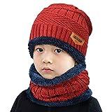 UMIPUBO Echarpe et Bonnet Enfants Unisexe Tricoté Beanie Hiver Chaud Doublure en Polaire Epais Echarpe Chapeaux (rouge)