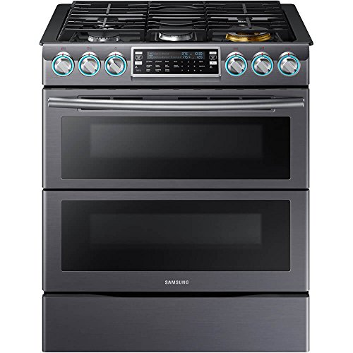 """Samsung Appliance NX58K9850SG 30"""" Slide-in Gas Range with Sealed Burner Cooktop, 5.8 cu. ft. Primary Oven Capacity, in Black Stainless Steel"""