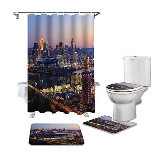 SHANQIU Badezimmer Duschvorhang Stadt Gebäude Moderne geschäftige Straße Autos Sockel Teppich Deckel Teppich Toilettenbezug Set Bad Vorhang Matte Set H180xB180cm