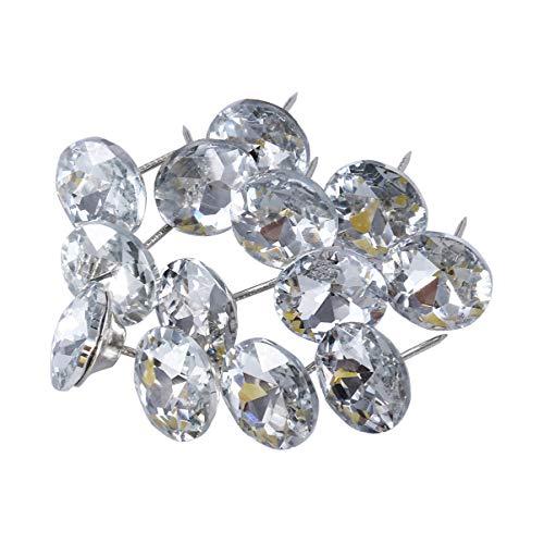 Healifty Botones de cristal de tapicería de la cabecera del sofá con botones redondos de bucle de metal para coser el sofá diy manualidades decoración 30pcs 25mm