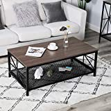 <span class='highlight'><span class='highlight'>Aingoo</span></span> Industrial Coffee Table 110 * 60 * 45 CM with Black Metal Frame Cocktail Table with Shelving Living Room Furniture Brown