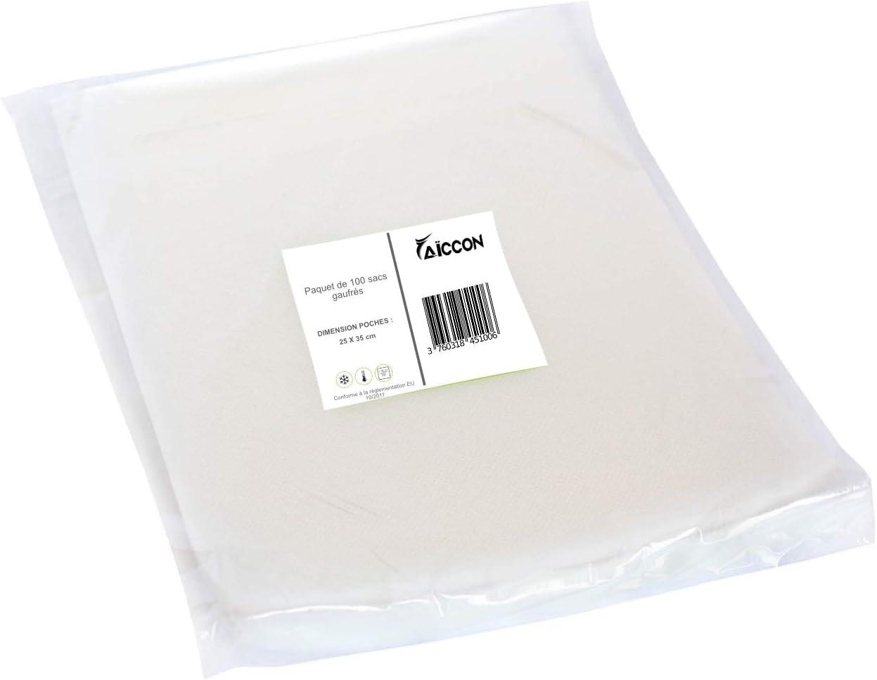 25 x 35 cm Sacs sous Vide Alimentaire Poches Gaufr/és Paquet de 100 sacs