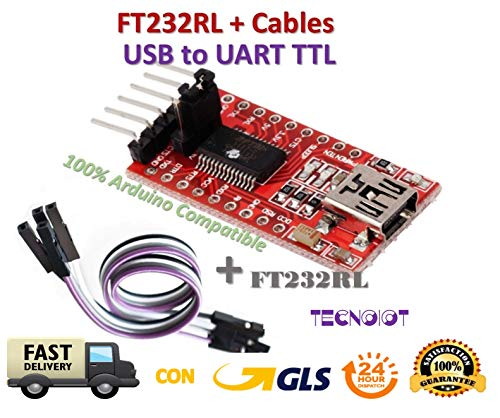 TECNOIOT FTDI FT232RL USB to TTL Serial Converter Adapter Module 5V and 3.3V + Cable |FTDI FT232RL USB-zu-TTL-Konverter-Adaptermodul mit 5 V und 3,3 V + Kabel