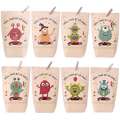 Joygogo Monster Geschenktüten, Bunt Geschenktüten mit 8 verschiedenen süßen Monstermotiven für Mitgebsel, Geschenke, Kindergeburtstage und Hochzeit Geschenk Papiertasche, Deko Taschen