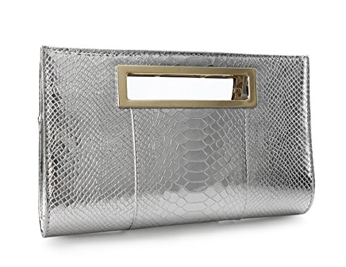 Hoxis Classic Crocodile Pattern Faux Patent Leather Metal Grip Cut it out Clutch with Shoulder Strap Womens Handbag(Silver)