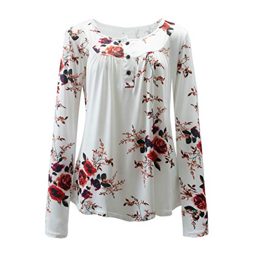Shirt Damen Elegant Locker Stretch Knopf Rundhals Langarmshirt Retro Floral Drucken...