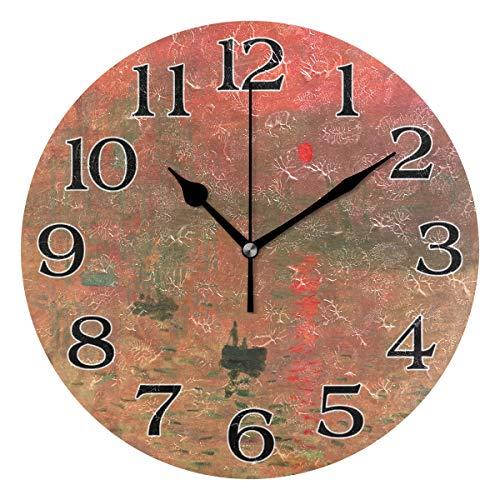 linomo Monet Sunrise Impression Wanduhr Dekor, leise, nicht tickende runde Uhr leise für Küche Wohnzimmer Schlafzimmer Badezimmer Büro