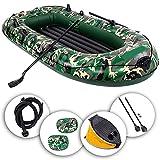 LKOPYUo Botes de Kayak inflables de Camuflaje, Kayak Inflable de Ocio para 2-4 Personas, Pesca, Rafting, Deportes acuáticos, yate, balsa Auxiliar, con Bomba de Cuerda, Bote de pontón para Adultos
