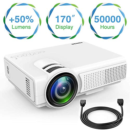 TENKER Q5 Mini Projector 1080P Supportted, with Big Display LED Full HD Video Projector, Compatible with 1080P HDMI, Fire TV Stick, VGA, USB, AV for Home Theater Entertainment (White)