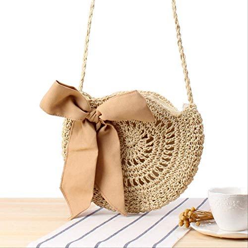 Borsa Wbdd Beach Vento Carino Bow Cross Corpo Tessuto Borsa Fatto A Mano Crochet Rotondo Erba Borsa beige m inv