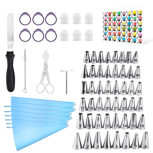 Kasmoire 70 Pcs Cake Decorating Tools kit-48 Numbered Piping Tips & 6 Reusable Pastry bag with Pattern Chart & EBook- Flower Nail, Icing Spatula,Cleaning Brush, 6 Couplers & Icing Bag Ties