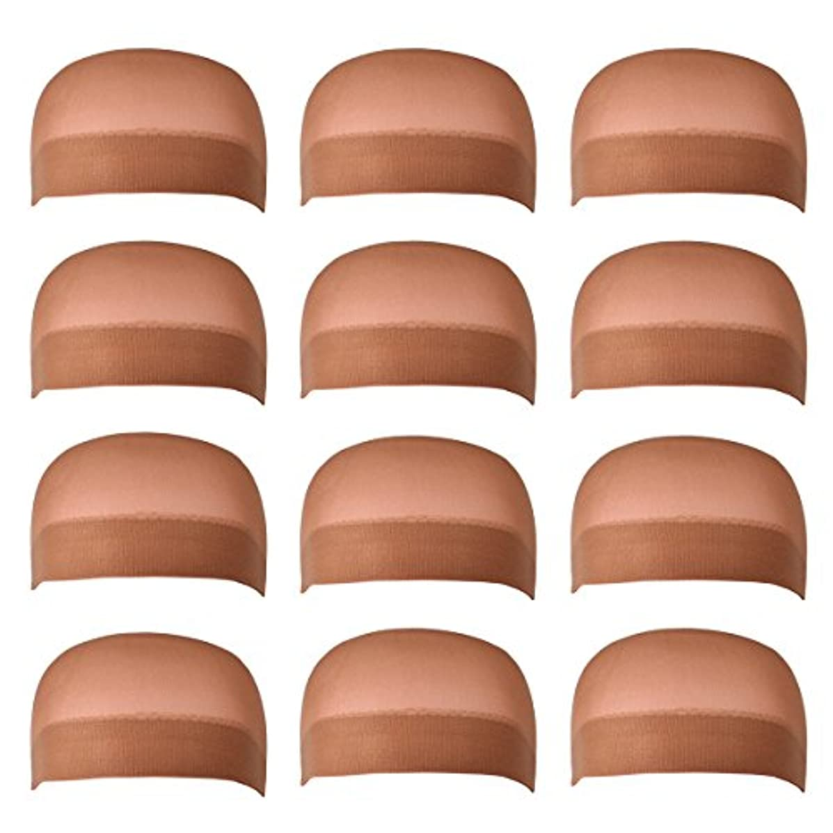 12 Pack Dreamlover Brown Stocking Wig Caps, Skin Tone Color Stretchy Nylon Close End Wig Caps, Each Paper Board Contains 2 Wig Caps (Brown)