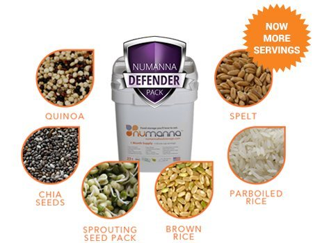 NuManna 204 Meals, Emergency Survival Food Storage Kit, Separate Rations, In A Bucket, 25+ Year Shelf Life, GMO-Free 4