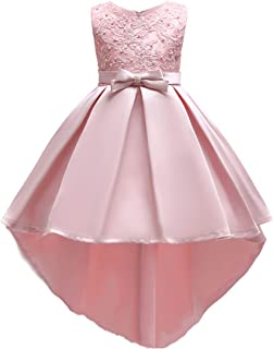 Flower Girl High Low Tutu Dress Little Big Princess Bridesmaid Wedding Party Gown First Communion Prom Dresses for Kid