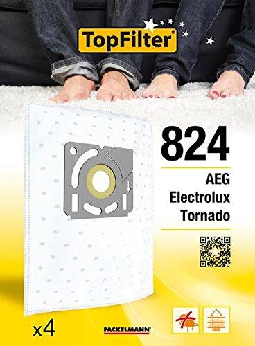TopFilter 824, 4 sacs aspirateur pour Electrolux, AEG et Tornado boîte de sacs d'aspiration en non-tissé, 4 sacs à poussière (30 x 26 x 0,1 cm)