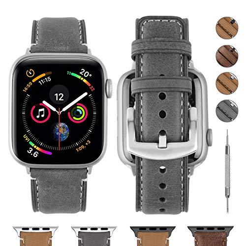 Fullmosa Compatible avec Bracelet Apple Watch 44mm,Bande de Remplacement Cuir,Compatible pour Bracelet iWatch Se Series 6 Series 5 Series 4 Series 3(44mm, Gris + Adaptateur Argenté)