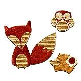 Set zorro erizo búho niños animal - Parches termoadhesivos bordados aplique para ropa