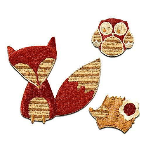 Aufnäher/Bügelbild - Set Fuchs Igel Eule Kinder Tier - braun - verschiedene Größen - Patch Aufbügler Applikationen zum aufbügeln Applikation Patches Flicken