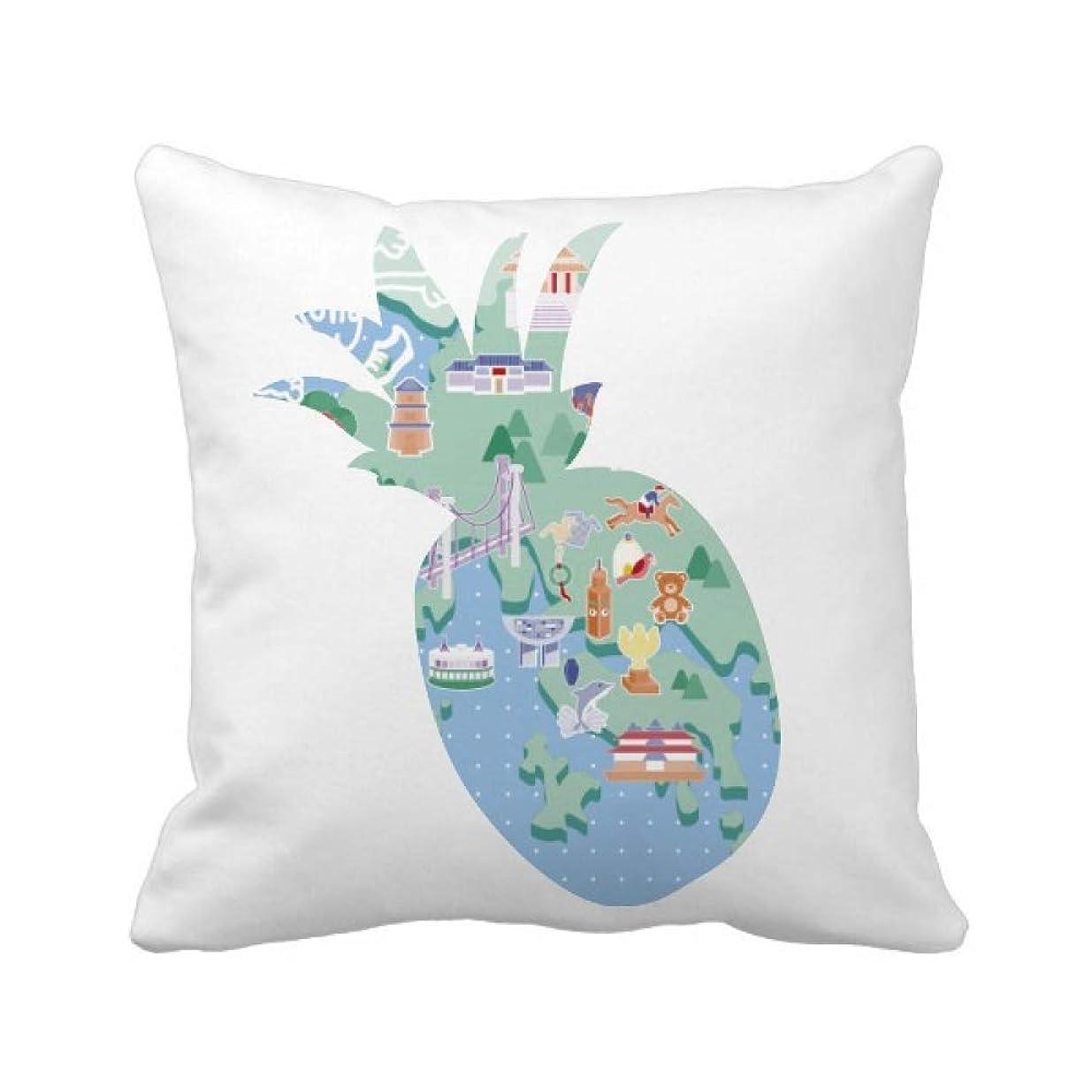 作曲家シャワー登山家香港は中国の有名な場所の地図 パイナップル枕カバー正方形を投げる 50cm x 50cm