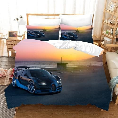 QQMHG 3D Cool Sports Car Bed Linen Set Duvet Cover 135 x 200 cm and Pillowcase 80 x 80 cm, Children's Boys Bed Linen Set Soft Microfibre (A3.220 x 240 cm + 2 x 80 x 80 cm)