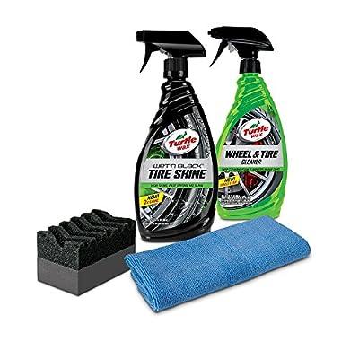 Turtle Wax 50837 Tire Shine & Wheel Cleaner Kit with Microfiber Towel