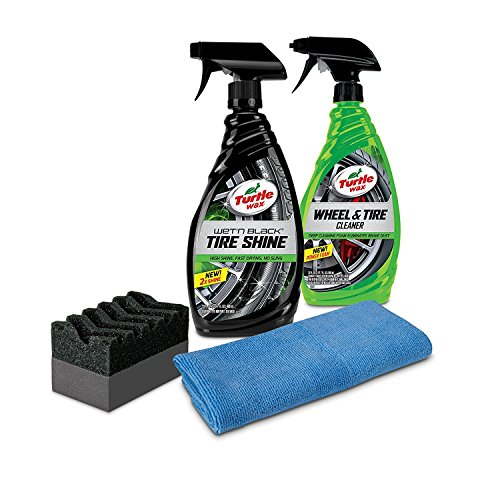 Turtle Wax 50837 Tire Shine & Wheel Cleaner Kit with Applicator & Microfiber Towel, 46. Fluid_Ounces
