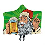 Wearable Sleeping Blankets Man Cave,Santa Claus Beer Comic Flannel Ultra-Soft Warm Cozy P Throws Blankets 60 x 50 Inch
