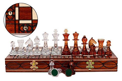 Fantástico ajedrez de madera AMBER de 40 cm. Piezas de ajedrez Staunton de plástico translúcido sobre tablero de ajedrez plegable de madera