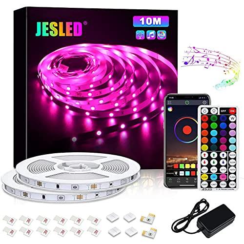 JESLEDテープライト LEDテープ 10メートル 新規IRリモコン/APP/ブルートゥース制御 音楽と同期 タイマー機能 1600万色 高輝度RGB SMD5050 間接照明 切断可能 装飾用 祝日用 非防水